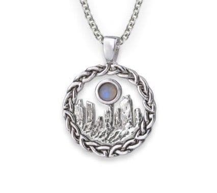Outlander Inspired Standing Stones Rhodium Plated Pendant Large With Moonstone